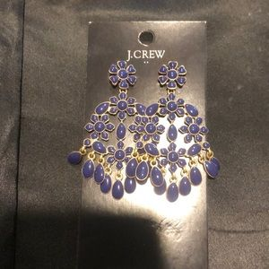 Jcrew blue bead chandelier earrings